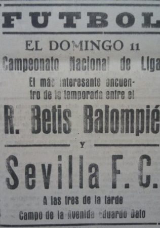 Hoy hace 90 años. Sevilla 0 Betis 0.
