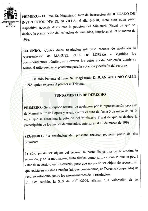 Página 2 del Auto de la Audiencia Provincia