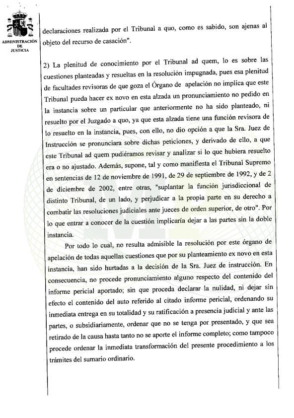 Página 3 del Auto de la Audiencia Provincia