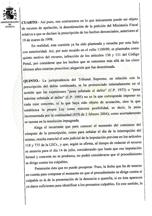 Página 5 del Auto de la Audiencia Provincia
