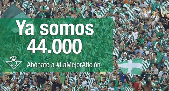 El Real Betis supera los 44 000 abonados