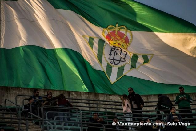 La bandera del estadio ondeando al atardecer