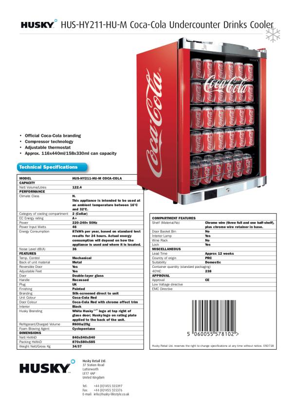 Coca Cola Undercounter Drinks Cooler