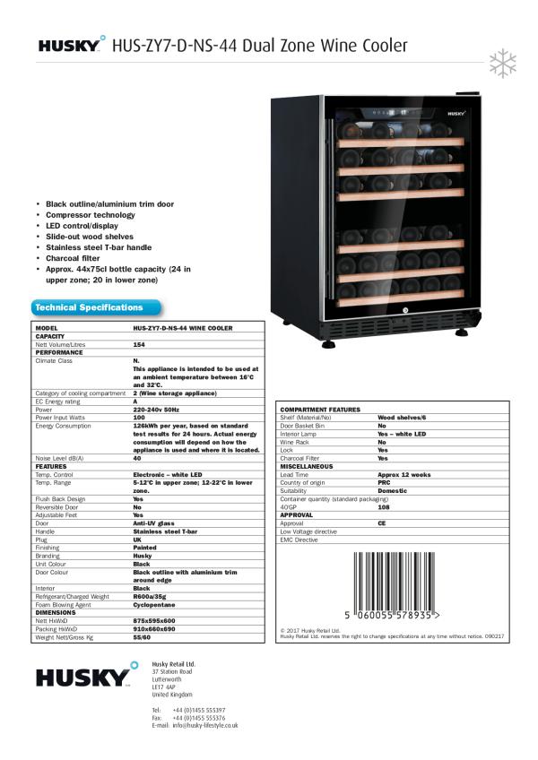 Dual Zone 44 Bottle Wine Cooler