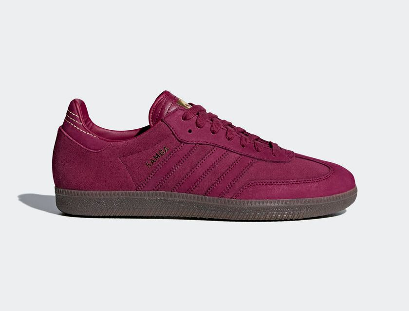 varonil callejón podar  adidas Samba FB Mystery Ruby Red / Gold | Man Savings