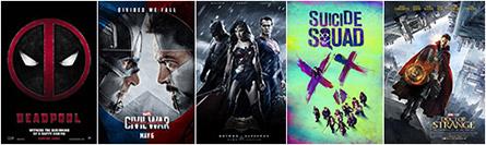 Deadpool, Captain America: Civil War, Batman V Superman, Suicide Squad, Doctor Strange