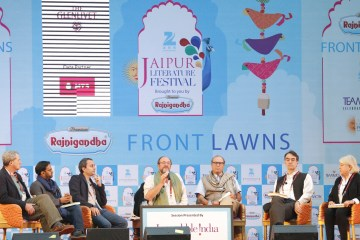 Paul Theroux, Charles Glass, Samanth Subramanian, Sam Miller, Brigid Keenan and William Dalrymple