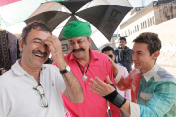 Rajkumar Hirani with Sanjay Dutt and Aamir Khan