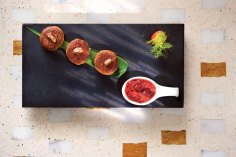 foie-gras-stuffed-galawat,-strawberry-green-chilli-chutney---indian-accent