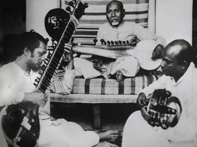Pandit Ravi Shankar with Ustad Allauddin Khan and Ustad Ali Akbar Khan