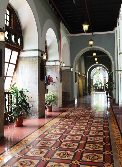 A tiled carpet welcomes visitors in the Royal Bombay Yacht Club