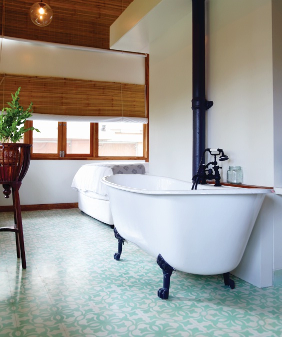 Heritage tiles in Abode, a boutique hotel in Mumbai