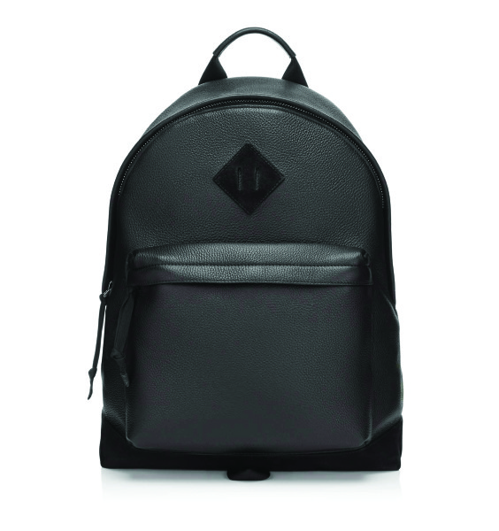 TOM FORD Black soft deerskin small transformable tote backpack with black suede bottom section