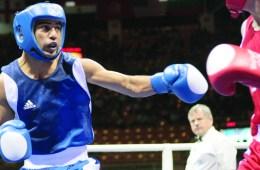 Russia's Sergey Vodopyanov (R) fights ag
