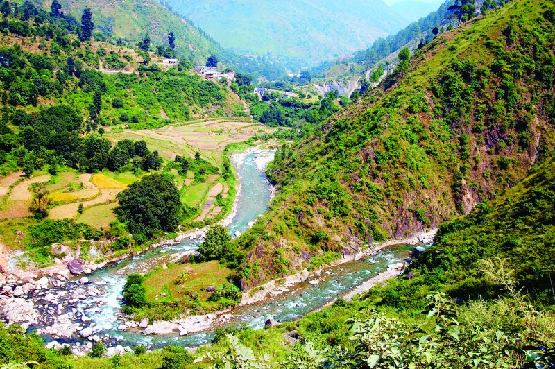 D2C511 Aerial View Of River On Way To Mountain Top At Binsar, Uttaranchal, India.