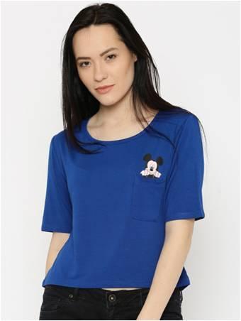 Kook N Keech Disney Women's Blue Printed Round Neck T-Shirt