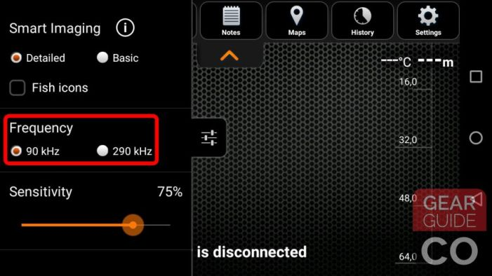 Choose between 90kHz and 290kHz in the menu on the left hand side inside the Deeper's app