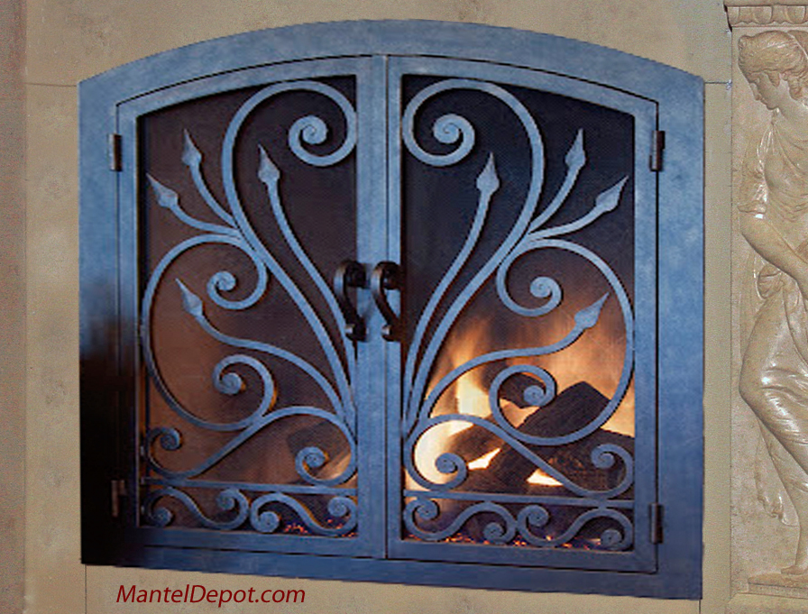Wrought Iron Fireplace Doors and Fireplace Screens - Fireplace Mantels From Mantel Depot