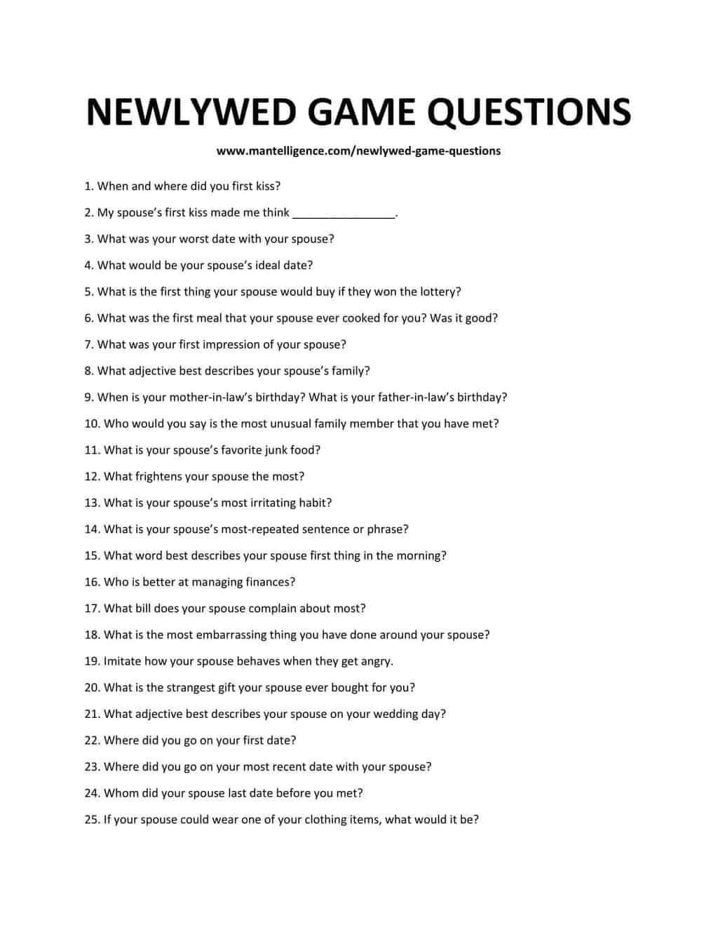 106 Newlywed Game Questions