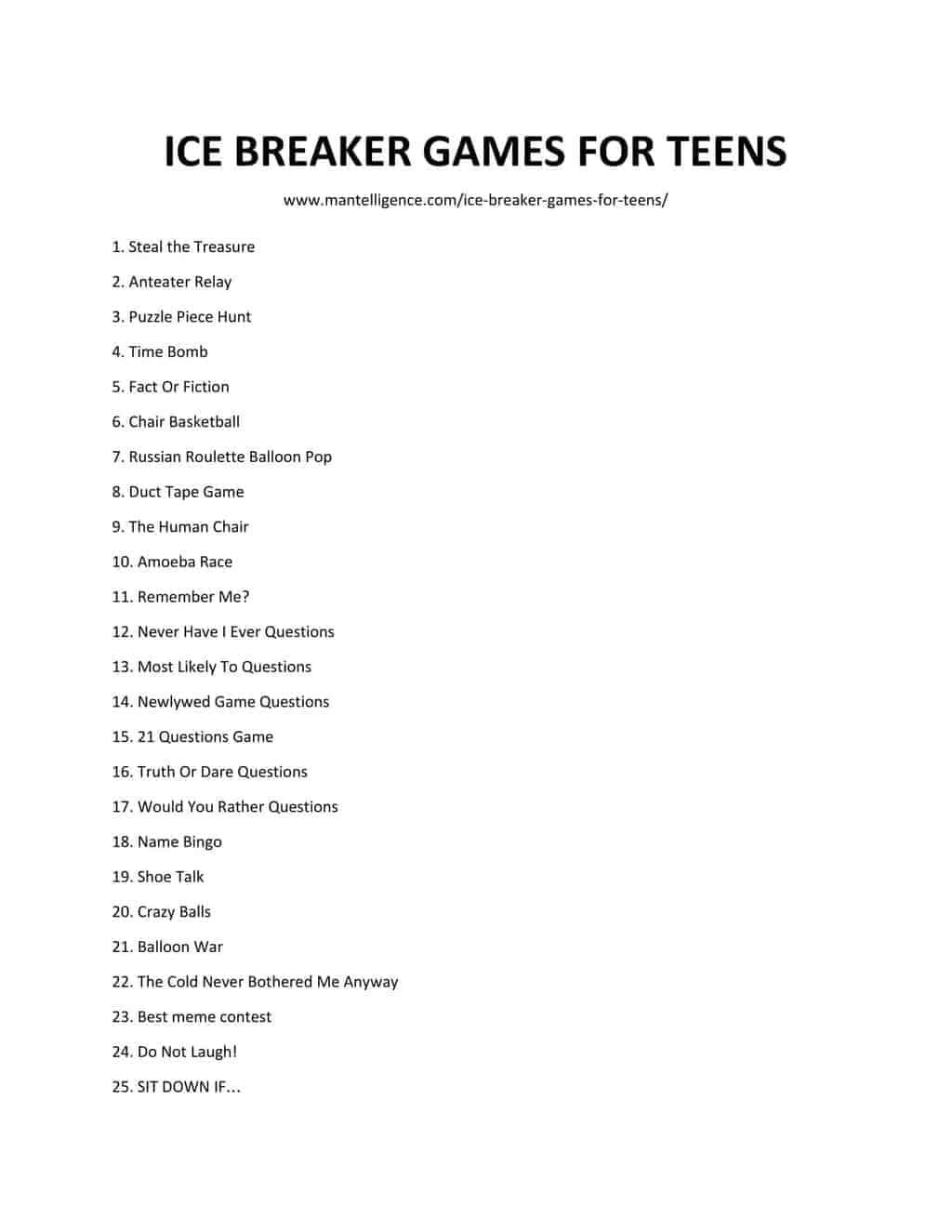 58 Best Ice Breaker Games For Teens