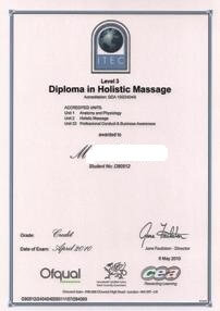 Holistic Massage- ITEC (UK) qualification of Maya Wang