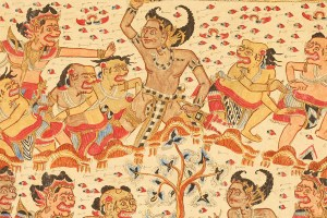 """Bali Bima in Underworld, from Bima Swarga, early 20th century ink and paint on muslin, 34 1/4 x 40"""" Gift of Estelle Shaw, 65.045.340 Courtesy Lowe Art Museum"""