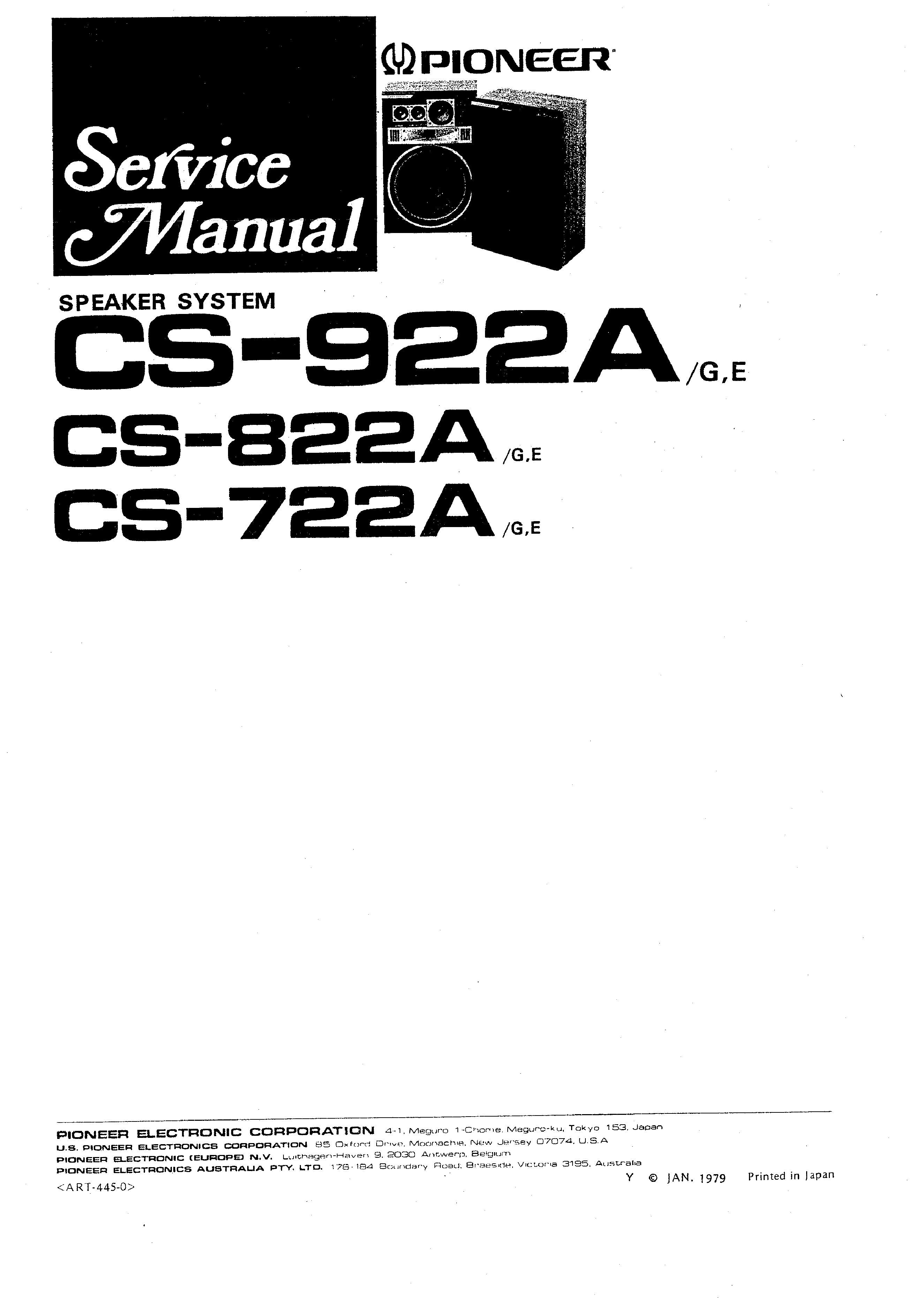 Service Manual For Pioneer Cs 922a