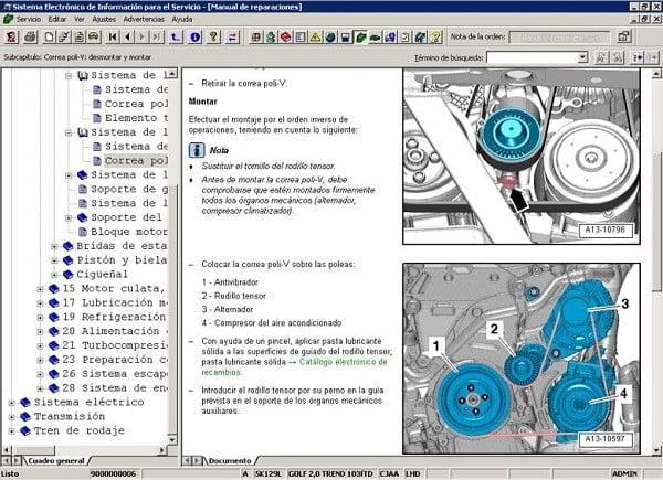 Manual Volkswagen Bora 2000 Reparación y Servicio de banda de distribución, banda sincronizadora, banda dentada, banda de tiempo, bomba de agua, bomba de gasolina