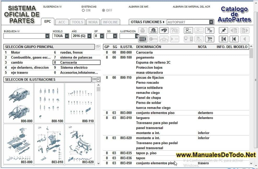 Contenido del Catalogo de AutoPartes para Volkswagen Spacefox 2007