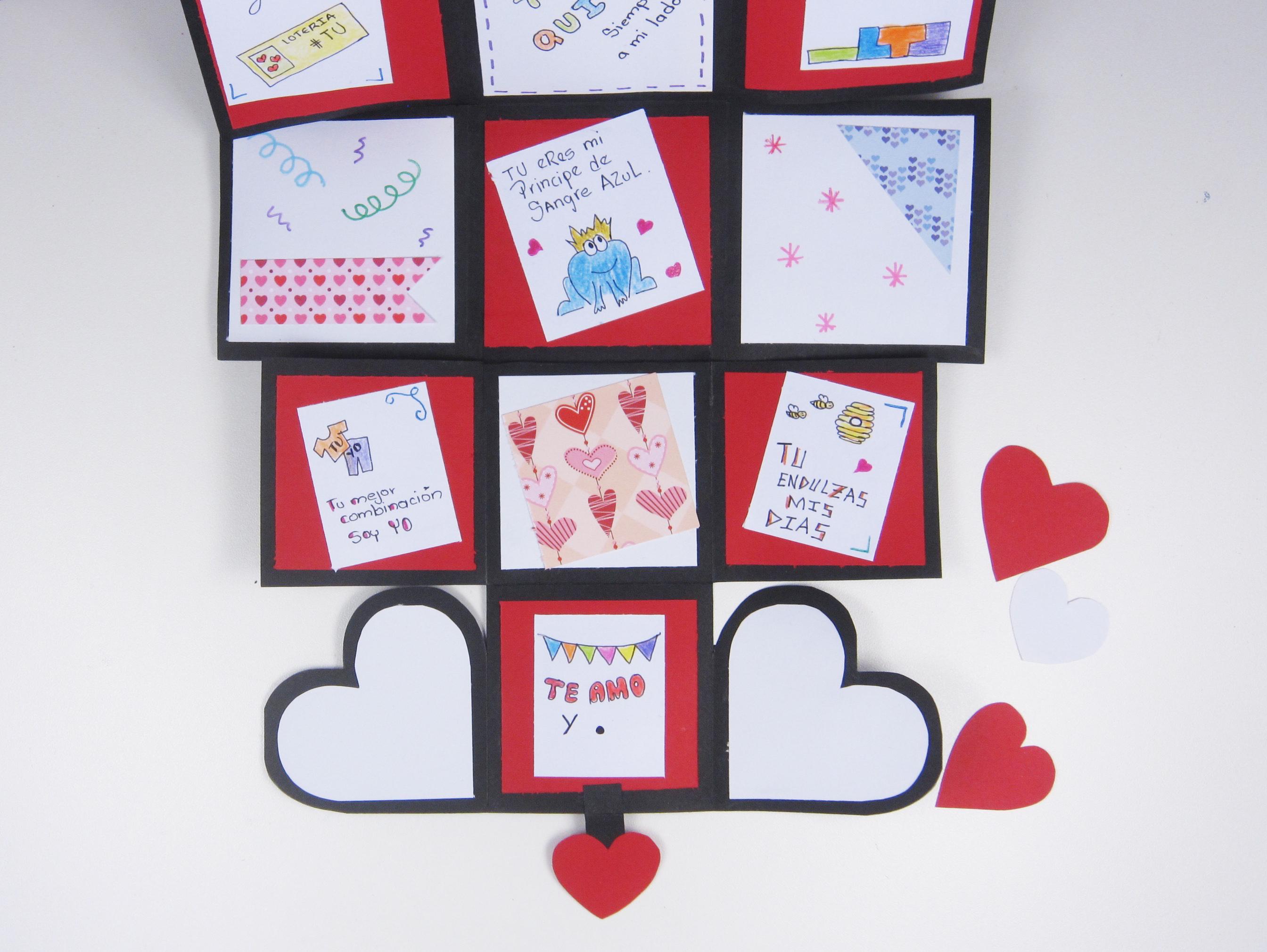 Tarjeta Kilometrica En Forma De Cubo San Valentin Manualidades Apasos