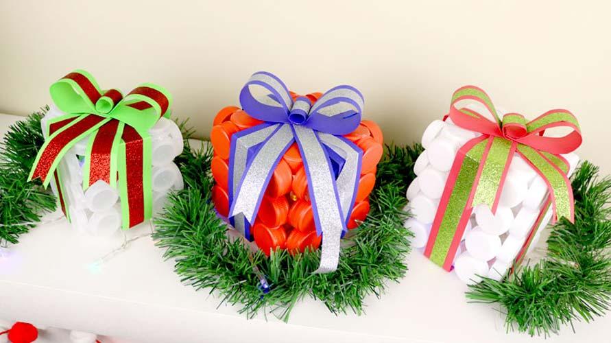 manualidades para navidad con tapones