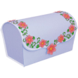 Papercraft recortable y armable de una caja de regalo violeta con flores. Manualidades a Raudales.
