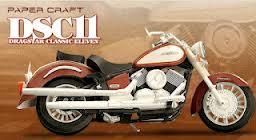 Papercraft imprimible y armable de la motocicleta Yamaha Dragstar Classic Eleven. DSC11.  Manualidades a Raudales.