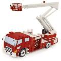 Papercraft recortable de un Camión de bomberos con escalera. Manualidades a Raudales.