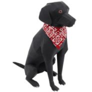 Papercraft imprimible y armable del Perro Labrador Retriever / Labrador Retriever Dog. Manualidades a Raudales.