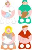 Marionetas dedo de las profesiones 3. Manualidades a Raudales.