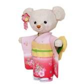 Papercraft imprimible y armable de Osito de peluche con kimono. Manualidades a Raudales.
