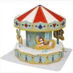 Papercraft imprimible y armable de un Tiovivo / Merry-go-round. Manualidades a Raudales.