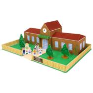 Papercraft imprimible y armable de una escuela / school.  Manualidades a Raudales.