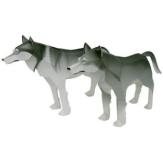 Papercraft imprimible y armable de un Lobo Gris / Gray Wolf. Manualidades a Raudales.