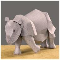 Papercraft imprimible y armable de un rinoceronte indio. Manualidades a Raudales.