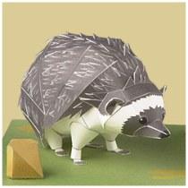 Papercraft imprimible y armable de un Erizo de Sudáfrica / South African Hedgehog. Manualidades a Raudales.