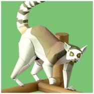 Papercraft imprimible y armable de un Lemur de Cola Anillada / Ring-Tailed Lemur. Manualidades a Raudales.