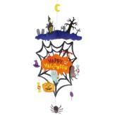 Papercraft imprimible y recortable de un móvil para Halloween de tela de araña.  Manualidades a Raudales.