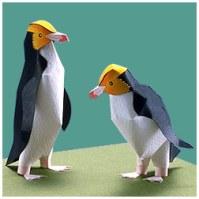 Papercraft imprimible y armable del Pingüino de Ojos Amarillos / Yellow-eyed Penguin. Manualidades a Raudales.