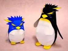 Papercraft imprimibles y armables de pingüinos infantiles. Manualidades a Raudales.