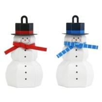 Papercraft imprimible y armable de un adorno de muñecos de nieve. Manualidades a Raudales.