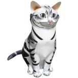 Papercraft imprimible y armable de un Gato americano de pelo corto. Manualidades a Raudales.