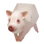 Papercraft imprimible y armable de un Cerdo enano. Manualidades a Raudales.