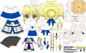 Papercraft de Anime - Arturia Saber. Manualidades a Raudales.